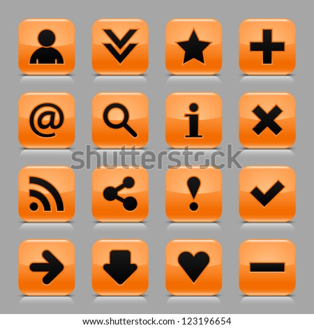 16 glossy orange button with black basic sign. Rounded square internet web icon with black shadow and reflection on light gray background. Vector illustration clip-art design elements in 8 eps