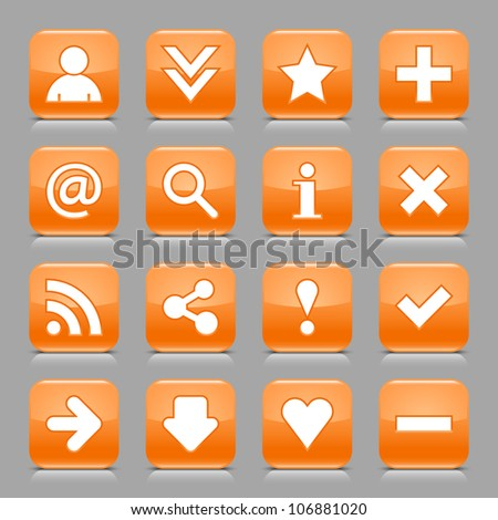 16 glossy orange button with white basic sign. Rounded square shape internet web icon with black shadow and reflection on light gray background. This vector illustration design elements saved 8 eps - stock vector