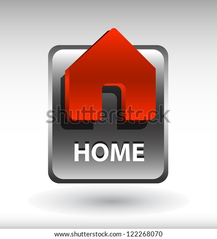 glossy web button with home sign. home shape icon with shadow - stock vector