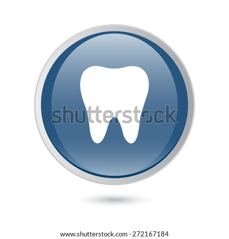 glossy web icon. tooth icon, icon - stock vector