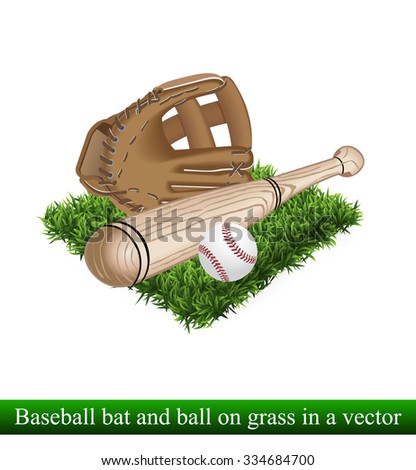 glove bat and ball for a baseball on grass vector - stock vector