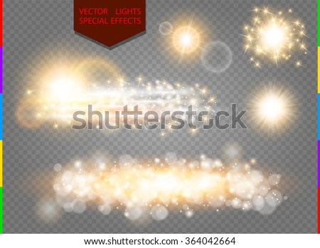 Glow golden light spark set on transparent background. Blur vector sparkles design collection. Explosive flash, sun, flare and shiny cloud. - stock vector
