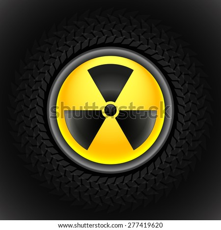 Glowing sign of radiation with a pattern on a circle on a dark background - stock vector