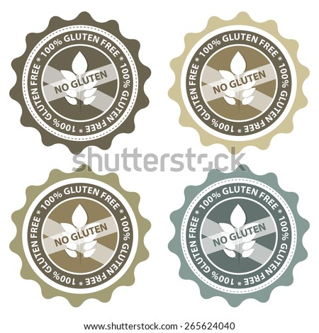 100% Gluten Free food labels. - stock vector
