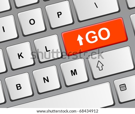 """GO"" button on a keyboard - stock vector"