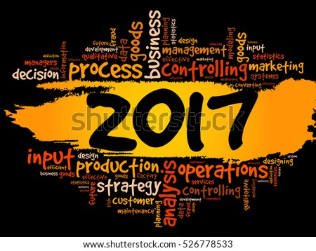 2017 goals plan, project word cloud, business concept background