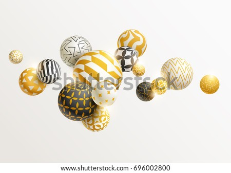 Gold and black 3D balls
