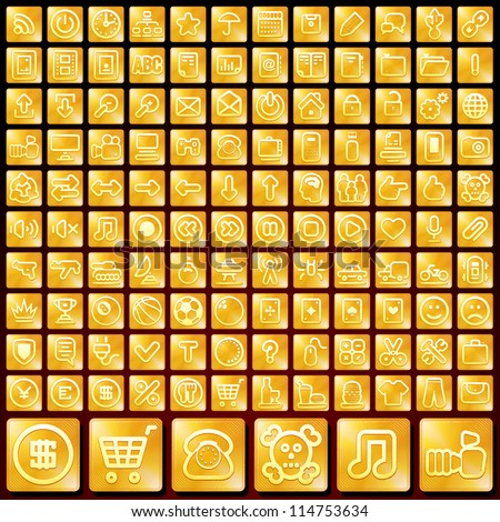 120 Gold Apps Buttons, Icons for your Design. Themes: Web, Social Media, Sport, Phone, Transport, Computer, Technology, People, Music. - stock vector