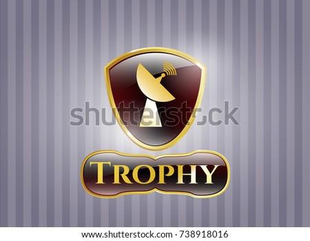 Gold Badge Emblem Radar Icon Trophy Stock Vector 738918016