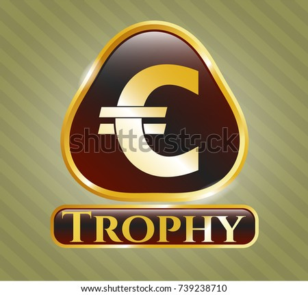 Gold Badge Euro Icon Trophy Text Stock Vector 739238710 Shutterstock