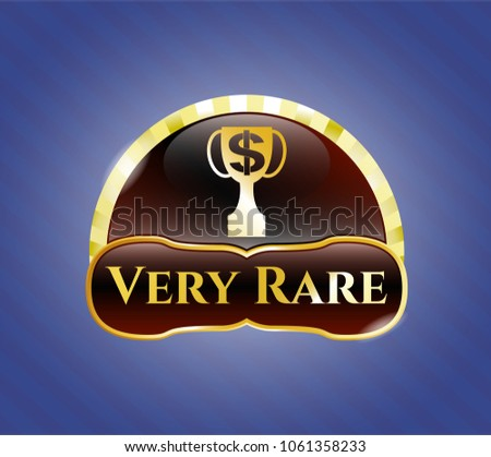 Gold Badge Trophy Money Symbol Inside Stock Vector 1061358233