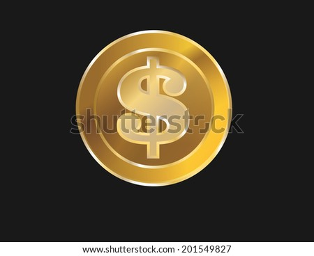 gold coin with dollar sign  illustration isolated on black background