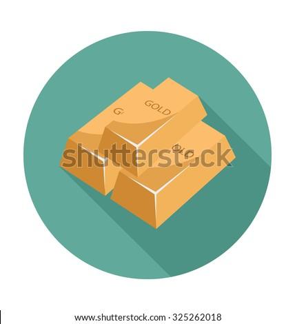 Gold Ingot Colored Vector Illustration  - stock vector