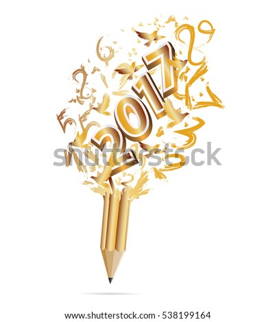 Gold Pencil with Happy New Year 2017-vector