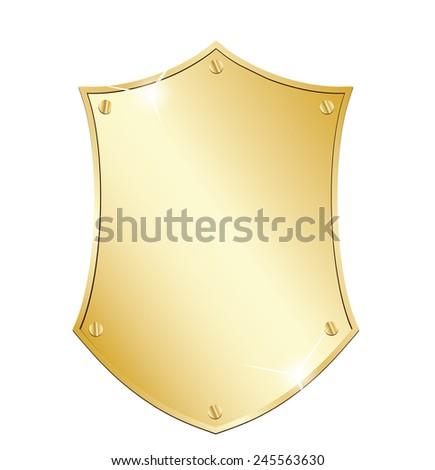 Gold shield sign - stock vector