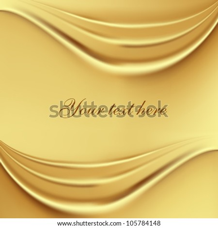 2 gold silk waves background - stock vector