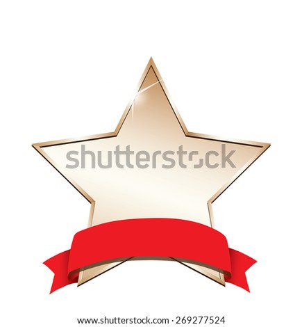 Gold star label - stock vector