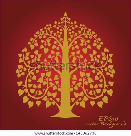 Gold tree and thai pattern style - stock vector