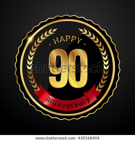90 golden anniversary logo with red ribbon, low poly design number