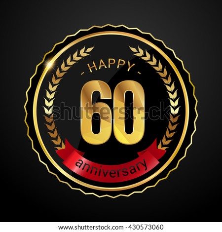60 golden anniversary logo with red ribbon, low poly design number