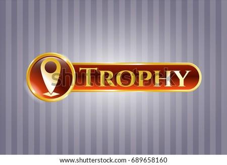 Golden Emblem Map Pointer Icon Trophy Stock Vector 689658160