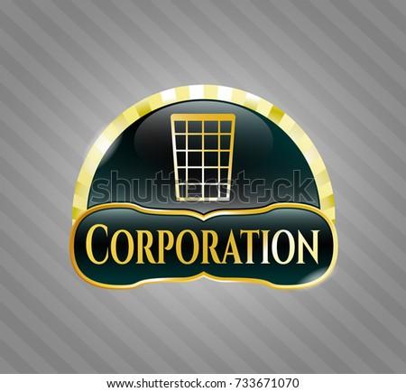 Golden Emblem Wastepaper Basket Icon Corporation Stock Vector