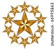 10 golden stars composition. - stock vector