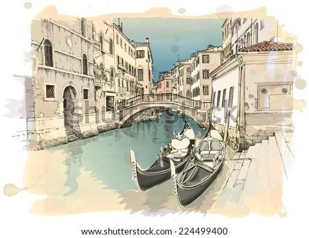 2 gondolas. Ponte del Mondo Novo, Campo S.Maria Formosa. Venice, Italy - stock vector