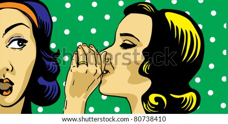 gossiping women pop art style, retro polka dots on background - stock vector