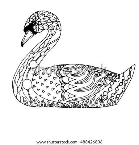 Graceful swimming patterned swan adult colouring book page