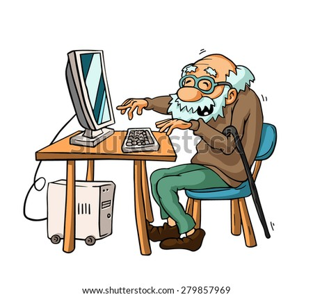 Grandpa Giggles Looking Into His Monitor Old Man And Computer Tehnology