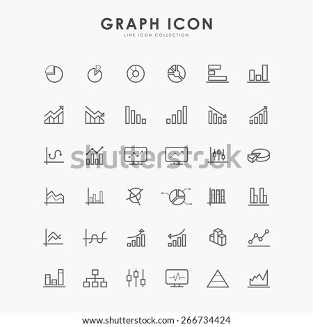 36 graph and diagram line icons - stock vector