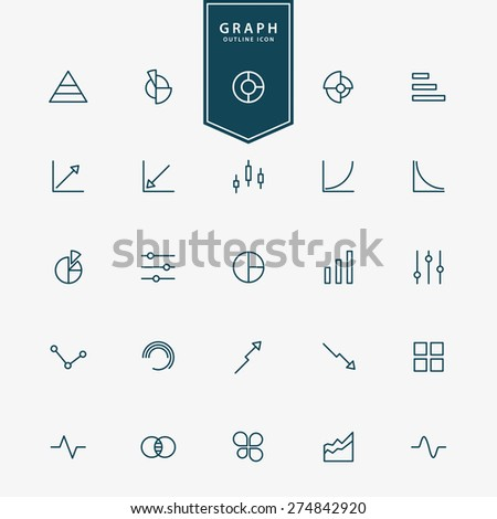 25 graph and diagram minimal line icons vector - stock vector