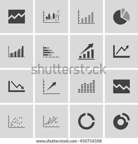 Graph Chart Icons Set. Vector illustration