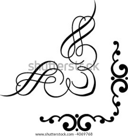2 graphical corners - stock vector