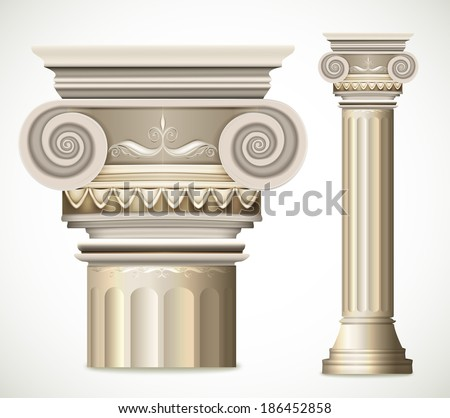 Greek Column isolated on white background. Vector illustration - stock vector