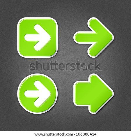 4 green arrow sign sticker web icon. Smooth internet button with drop shadow on gray background with noise effect. This vector illustration clip-art design element saved in 10 eps - stock vector