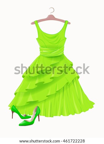 Green dress and  shoes.  Dress and shoes for party. Festive women's  attire and accessories.  Fashion cocktail dress .  Female clothing. Christmas outfit collection. Outfit for St. Patrick day.