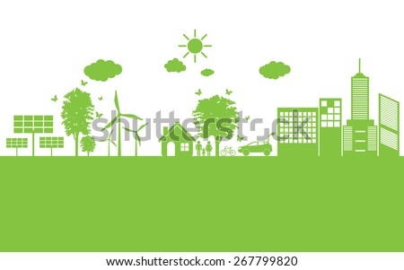 Green ecology City environmentally friendly .  - stock vector