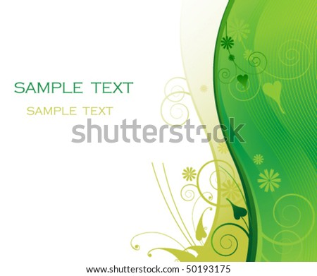 Green floral background. Frame for headers and titles.