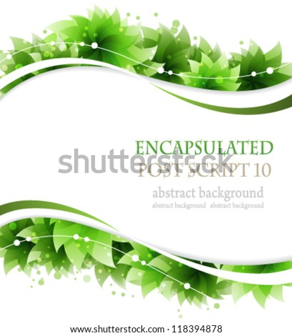 Green flowers on a white background.  Abstract floral frame - stock vector