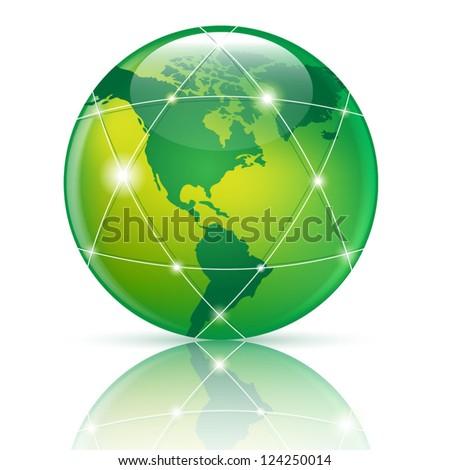 green Globe icon, eps10 illustration - stock vector