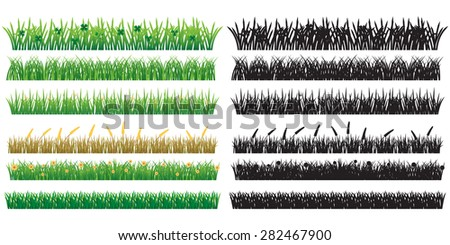 6 Green Grass And Silhouette, Isolated On White Background, Vector Illustration