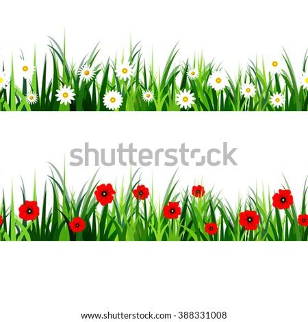 Green Grass seamless set - stock vector