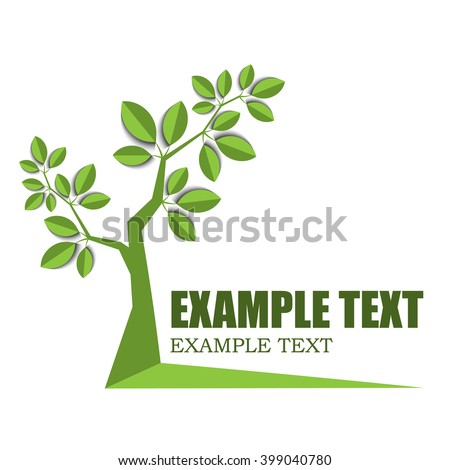 green growing tree with leaves on white - stock vector