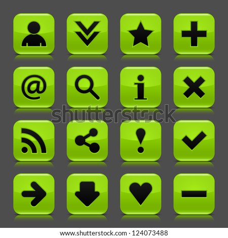 16 green icon with basic web black sign. Glossy rounded square shape internet button with drop shadow and color transparency reflection dark gray background. Vector illustration design elements 8 eps - stock vector