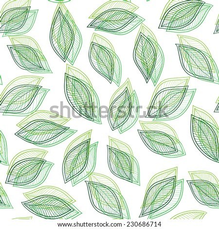 green leaves on a white  background vector seamless abstract hand-drawn pattern