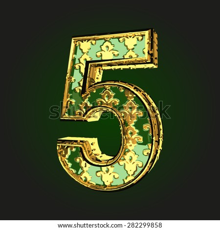 5 green letter with gold