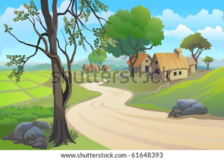 GREEN PADDY FIELDS , PATHWAY  AND  VILLAGE HOUSES - stock vector