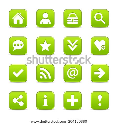 16 green satin icon with basic sign. Rounded square web internet button with gray shadow on white background. Vector illustration design element 8 eps - stock vector
